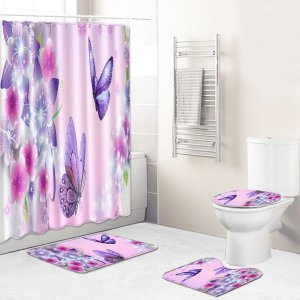 1шт Занавеска для душа и коврик ванной с принтом бабочки SHEIN. Цвет: многоцветный