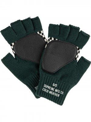 Перчатки Checkered Fingerless Supreme. Цвет: зеленый