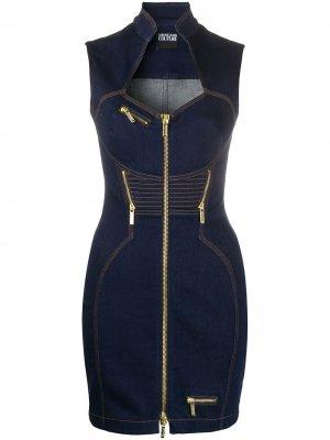 Джинсовое платье мини Versace Jeans Couture. Цвет: синий