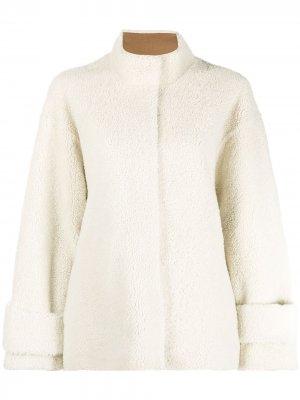 Однобортное пальто из овчины Liska. Цвет: нейтральные цвета