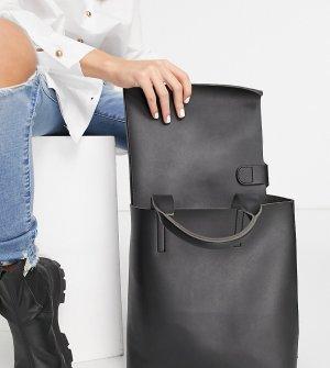 Объемная сумка-шоппер черного цвета со съемным карманом для ноутбука Exclusive-Черный Glamorous
