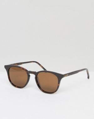 Солнцезащитные очки в квадратной черепаховой оправе  Beaumon Komono. Цвет: коричневый