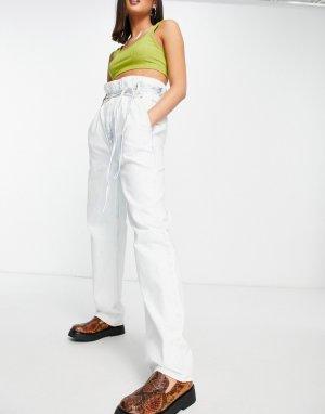 Выбеленные джинсы с завышенной талией и широкими штанинами в винтажном стиле -Голубой Topshop