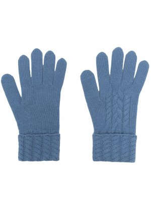 Перчатки из органического кашемира фактурной вязки N.Peal. Цвет: синий