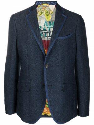 Однобортный пиджак из джерси ETRO. Цвет: синий