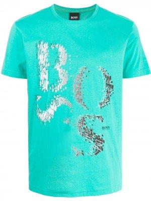 Deconstructed logo-print cotton T-shirt BOSS. Цвет: зеленый