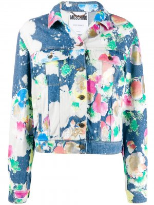 Джинсовая куртка из вареного денима Moschino. Цвет: синий