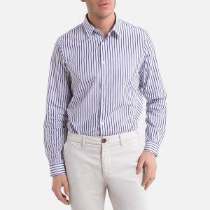 Рубашка-слим LaRedoute. Цвет: белый