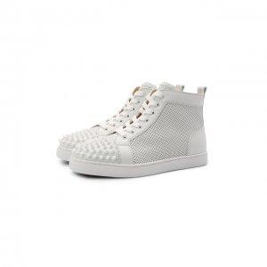 Кожаные ботинки Lou Spikes Christian Louboutin. Цвет: белый