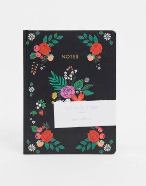 Блокнот с цветочным рисунком на обложке -Черный Skinnydip