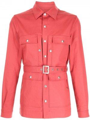 Куртка-рубашка в стиле милитари с поясом Rick Owens. Цвет: красный