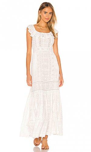 Макси платье niko LoveShackFancy. Цвет: белый