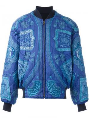 Стеганая куртка-бомбер Hermès Vintage. Цвет: синий