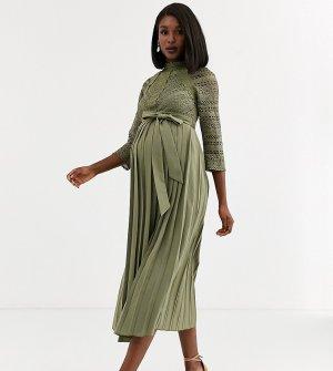 Платье мидакси цвета хаки с кружевной отделкой -Зеленый Little Mistress Maternity
