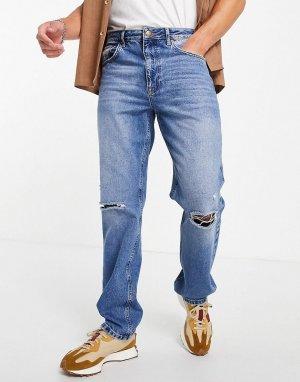Прямые джинсы в винтажном стиле синего выбеленного цвета с рваной отделкой -Голубой ASOS DESIGN