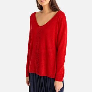 Пуловер из тонкого трикотажа льна с V-образным вырезом PAULA HARRIS WILSON. Цвет: индиго,красный