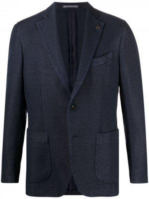 Однобортный пиджак Gabriele Pasini. Цвет: синий