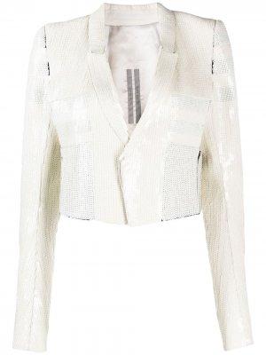 Пиджак-смокинг с пайетками Rick Owens. Цвет: белый