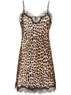 Ночная сорочка Scarlett с леопардовым принтом Sainted Sisters. Цвет: коричневый