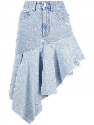 Джинсовая юбка асимметричного кроя с оборками Off-White. Цвет: синий