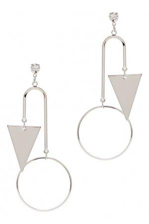Серебристые серьги с геометрическими подвесками Aqua. Цвет: серебряный