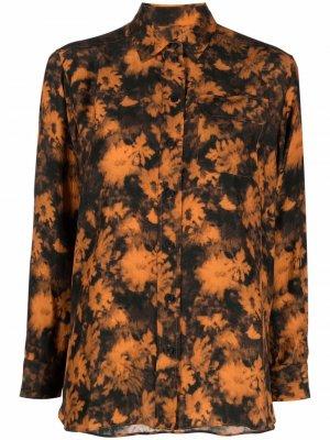 Шелковая рубашка с цветочным принтом Kenzo. Цвет: оранжевый