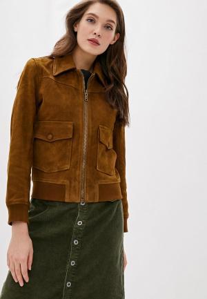 Куртка кожаная Pepe Jeans. Цвет: коричневый