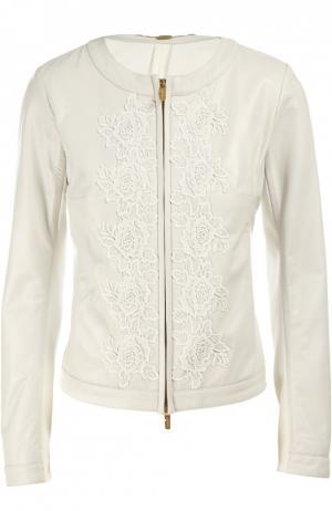 Куртка кожаная Blugirl. Цвет: белый