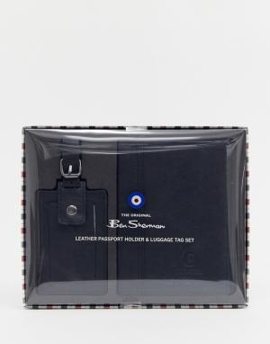 Набор: обложка для паспорта и багажная бирка Ben Sherman. Цвет: черный