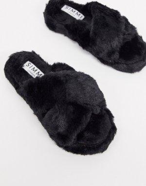 Черные пушистые тапочки Simmi London-Черный Shoes