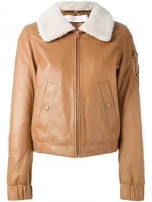 Куртка-пилотка с воротником из овчины See By Chloé. Цвет: телесный