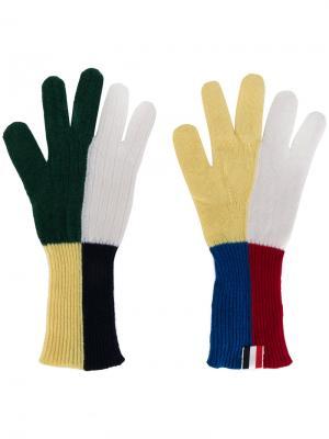 Перчатки в клетку Thom Browne. Цвет: многоцветный