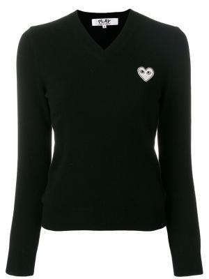 Пуловер с V-образным вырезом Comme Des Garçons Play. Цвет: черный