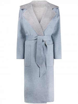 Пальто тонкой вязки с поясом Liska. Цвет: синий