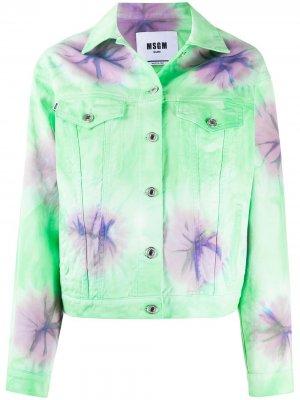 Джинсовая куртка с принтом тай-дай MSGM. Цвет: зеленый