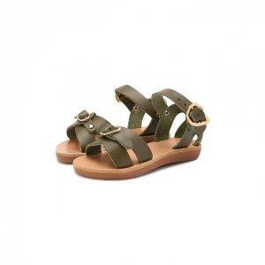 Кожаные босоножки Ancient Greek Sandals. Цвет: хаки