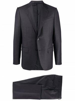 Костюм узкого кроя с однобортным пиджаком Ermenegildo Zegna. Цвет: серый