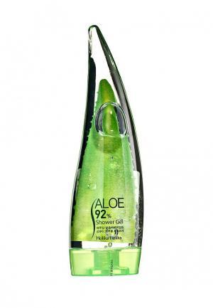 Гель для душа Holika с 92% содержанием экстракта сока алоэ вера. Цвет: белый