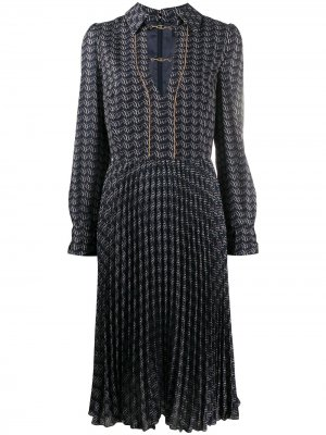 Ribbon-print pleated midi dress Elisabetta Franchi. Цвет: синий