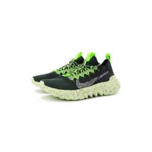 Текстильные кроссовки Space Hippie 01 NikeLab. Цвет: зелёный