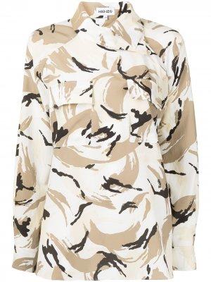 Рубашка оверсайз с камуфляжным принтом Kenzo. Цвет: коричневый
