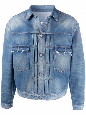 Джинсовая куртка с эффектом потертости Maison Margiela. Цвет: синий