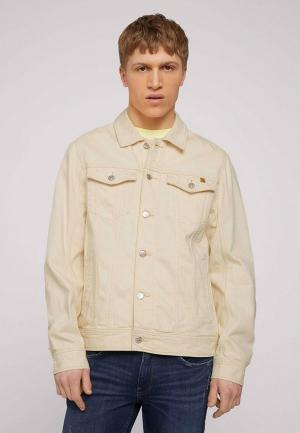 Куртка джинсовая Tom Tailor Denim. Цвет: бежевый