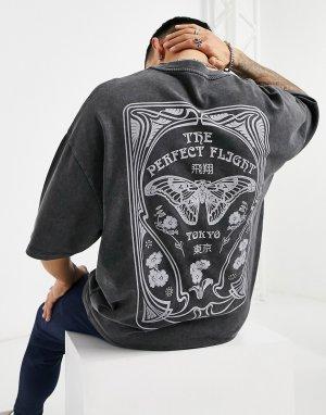 Черная выбеленная oversized-футболка из плотного трикотажа с принтом бабочки на спине -Черный цвет ASOS DESIGN
