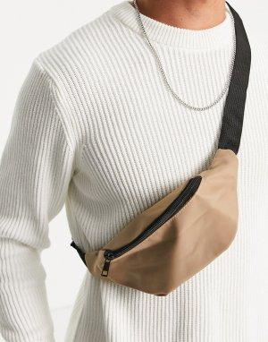 Светло-бежевая сумка-кошелек на пояс -Светло-бежевый цвет New Look