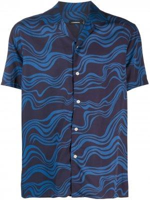 Рубашка с принтом J Lindeberg. Цвет: синий