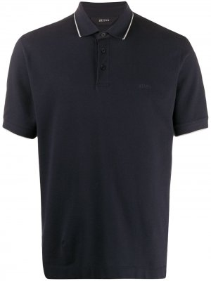 Рубашка-поло с короткими рукавами Z Zegna. Цвет: синий