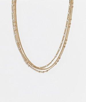 Набор из 3 золотистых ожерелий-чокеров -Золотистый Topshop