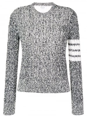 Пуловер с открытым швом и 4 полосками на рукаве Thom Browne