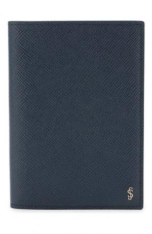 Кожаная обложка для паспорта Serapian. Цвет: синий